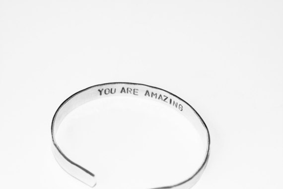 Hand Stamped Bracelet - Best Friend Gift - You are Amazing - daughter, mom, wife, girlfriend, back to school, text on inside of bracelet