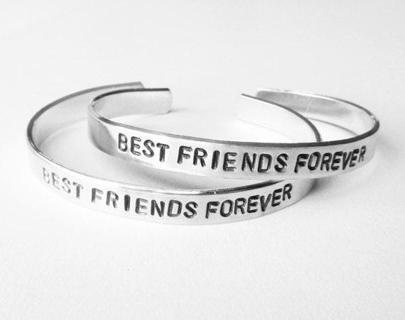 Friendship bracelet, Best Friend Bracelets, matching friend jewelry,  hand stamped silver cuff, best friends forever, handmade jewelry