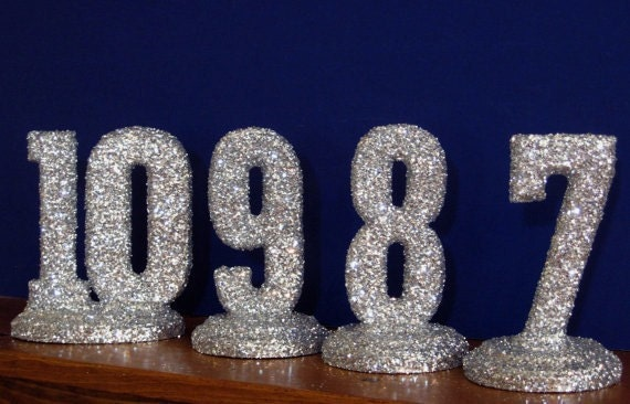 RESERVED LISTING Glittered Table Numbers Wedding Decor Sweet 16 Quinceanera Bridal Shower