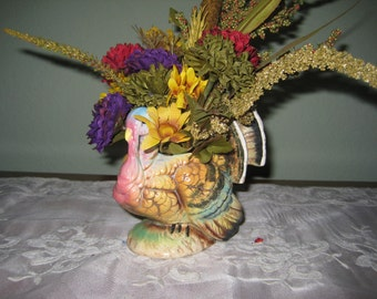 Arrangement in Vintage Turkey Vase for Thanksgiving Table