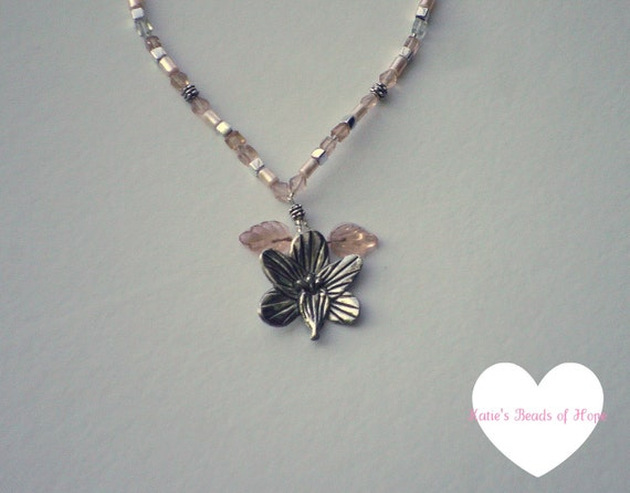 Light Pink Soft Pink Hand Made Necklace with Flower Pendant - 100% Charity Donation