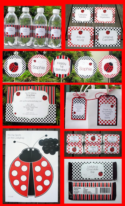 ladybug party invitations amp decorations full by simonemadeit
