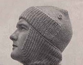 1940s MAN'S BOMBER HAT Vintage Knitting Pattern, + Cable Sweater, Genuine army clothing, Instant Download Pdf from GrannyTakesATrip 0054
