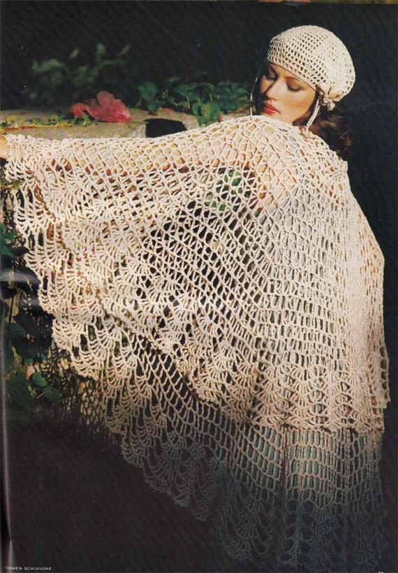 1970s vintage crochet pattern to make boho shawl amp beret flapper