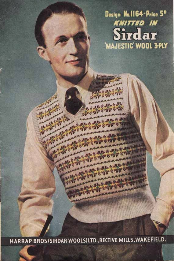 1940s Men's Fairisle V Neck Vest VINTAGE KNITTING PATTERN, Preppy Hipster Slipover or Tank Top, Instant Pdf from GrannyTakesATrip 0056