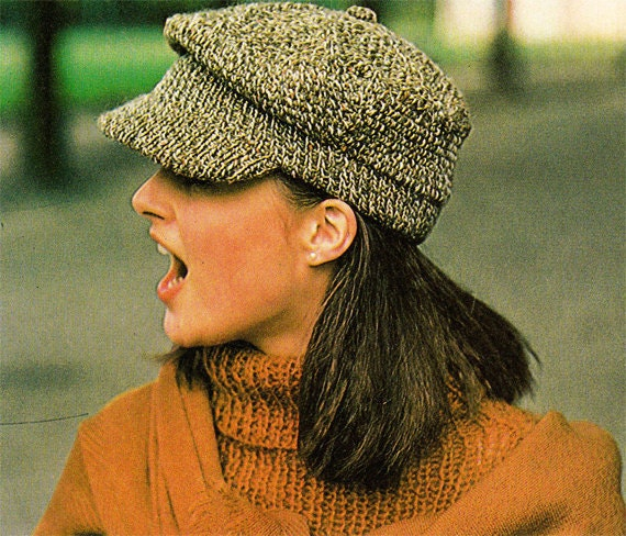 Newsboy Hat Knitting Pattern : Items similar to 1980s VINTAGE KNITTED CAPS & Hats Pattern, Newsboy Cap, ...