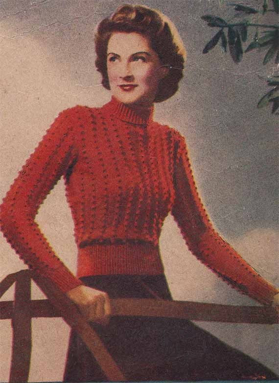Items similar to 1940s Skinny Rib Sweater VINTAGE KNIT ...
