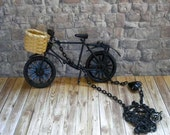 Black Vintage Style Dutch Bicycle Necklace with wicker basket