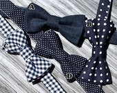 Black Bow Tie for Boys : Black and White Gingham Tie , Black and White Dot Tie, Solid Black Tie