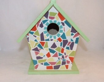 SALE: Mosaic Birdhouse - Green & Colorful
