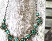 Vintage Hollycraft Emerald and Pearl Costume Necklace