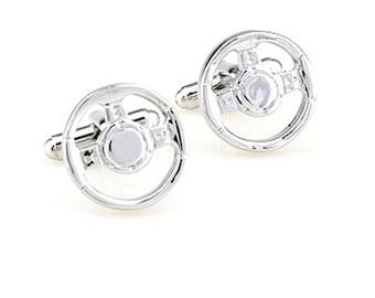Steering Wheel Cufflinks - Groomsmen Gift - Men's Jewelry - Gift Box Included