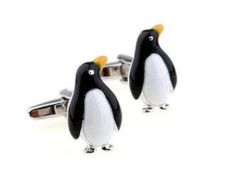 Penguin Cufflinks - Groomsmen Gift - Men's Jewelry - Gift Box Included