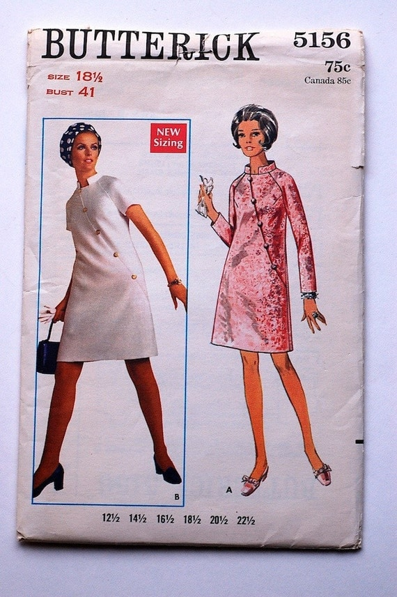 Vintage Sewing Pattern, 1969, Butterick 5156, One-Piece, Dress Size 18 1/2, Bust 41