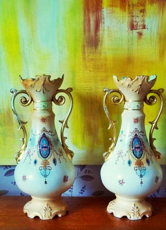 Sale Price: 48 US. Pair of Mantel Vases,Nouveau Pair of Antique Ivory Blush Porcelain Vases, W. Adams & Co Tunstall Vases