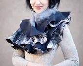 Handmade Nuno felted ruffle scarf shawl wrap Black and gray Hand Felted Super soft Eco-friendly