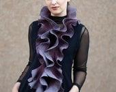 Handmade felted Long ruffle scarf Jabot Neck warmer Plum Purple lavender
