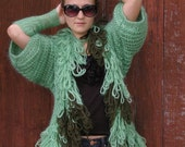 Knit Cardigan Green with Pockets