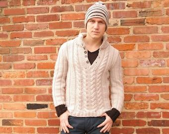 Cable Knit Mockneck Sweater for Men Custom Order