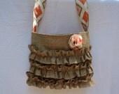 Crossbody Purse Burlap Bag Sling Bag and Ikat Lining
