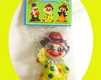 Vintage 1960s Polka Dot Clown Doll Bank Flashing Peace Sign, UNOPENED