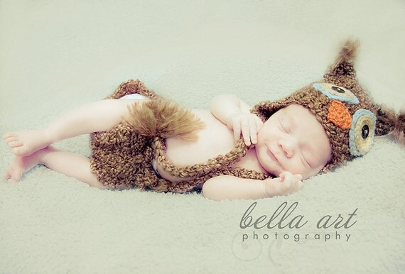 Newborn Owl Photography Prop hat with tassles and diaper set (sizes nb, 1-3mos, 3-6mos, 6-12mos)