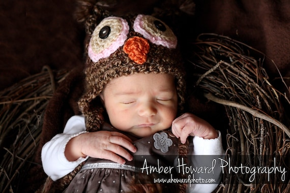 Newborn Owl hat Photography Prop Girl Pink eyes (also available in 1-3mos, 3-6mos, 6-12mos)