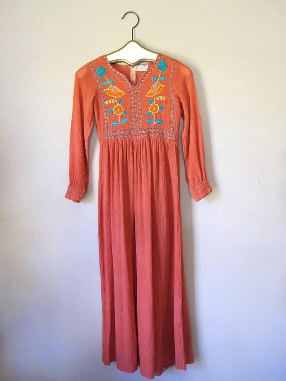 S A L E //  1960s Original Indian Gauze Embroidered Maxi Dress
