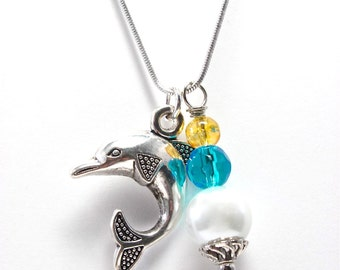 Dolphin Sorority Jewelry - Silver Dolphin Charm Necklace - Blue and Gold Sorority Jewelry - Nautical Accessory