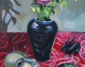 "Sale Painting on Canvas, Original Still Life, Mask and Roses, 24"" x 20"" art."
