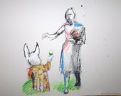 """Alice in Wonderland, White Rabbit, Original Drawing, 11"""" X 14""""  Ink, Pencil and Oil Pastel on Paper."""