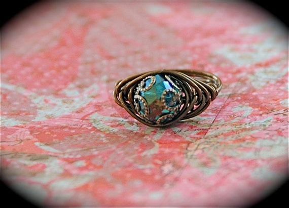 Teal Rainbow - Turquoise AB Czech Glass Neo Victorian Ring