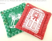 Marushka Pot Holders Red Green 1980s Christmas Kitchen Vintage