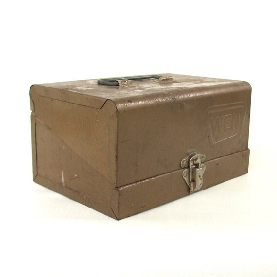 Vintage Tool Box Wen Industrial Brown Steel Case