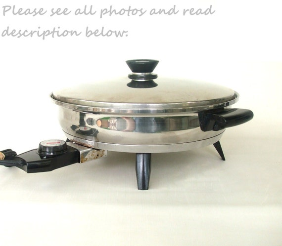 Amway Queen Electric Skillet Frying Pan - Stainless Steel Vintage - Used