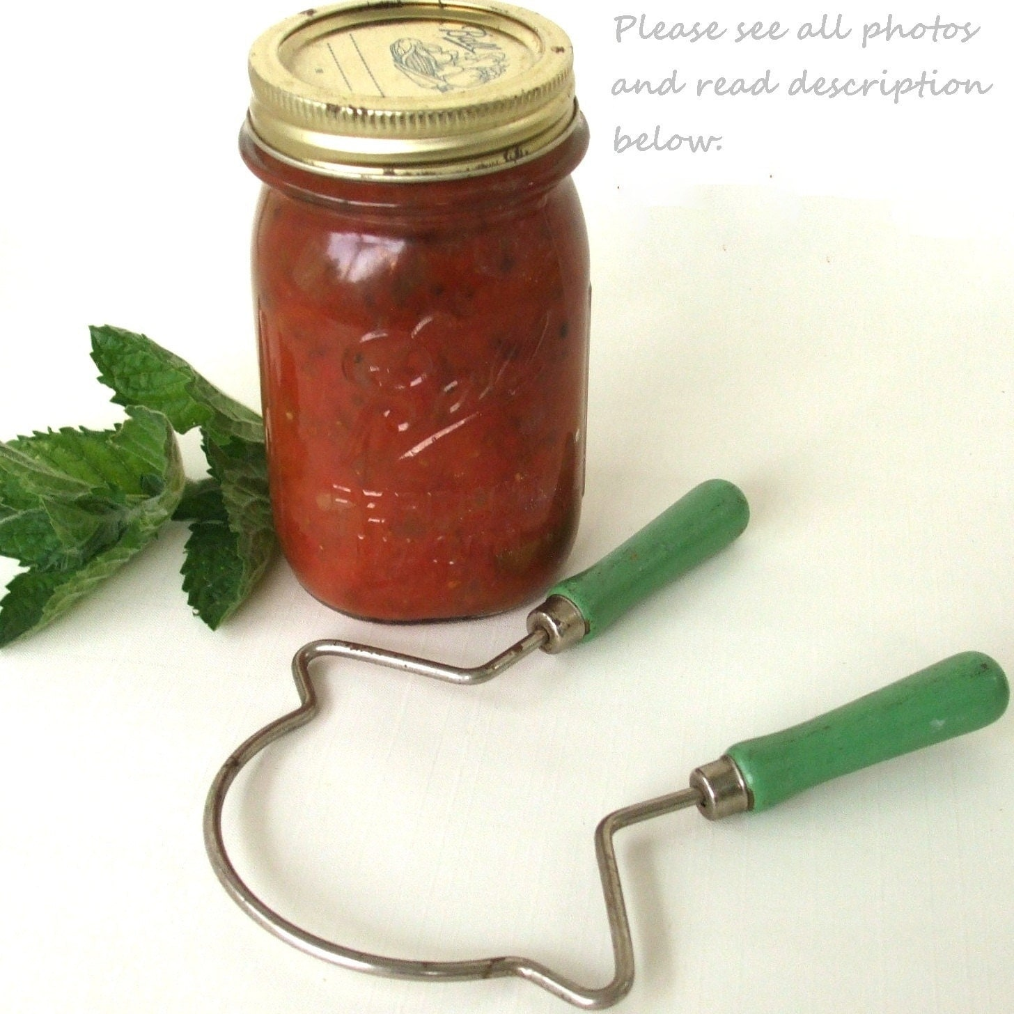 Jar Opener Vintage Kitchen Utensil Jade Green Wood Handle