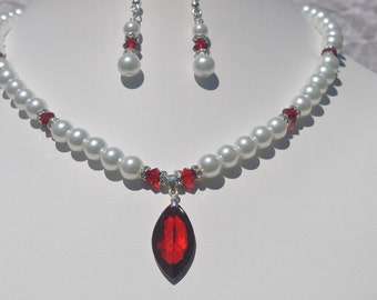 Red Sky at Night - Pearl and Crystal Necklace Set