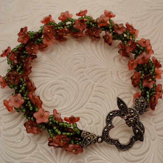 Czech Glass Flower, Japanese Seed Bead, and Sterling Silver Marcasite Bracelet