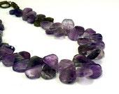 Natural gemstones necklace: amethyst jewelry petals purple necklace, handmade jewelry by NatureLook, choker