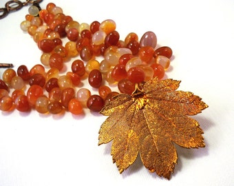 Real leaf necklace - natural leaf red carnelian agate necklace, carnelian necklace, natural gemstone choker