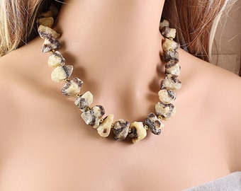 Rough stone necklace, big raw gemstone necklace, brown and yellow septarian jewelry, chunky necklace, natural raw stone necklace