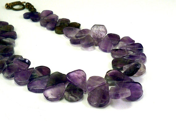 Natural gemstones necklace: amethyst jewelry petals purple necklace, handmade jewelry by NatureLook, choker