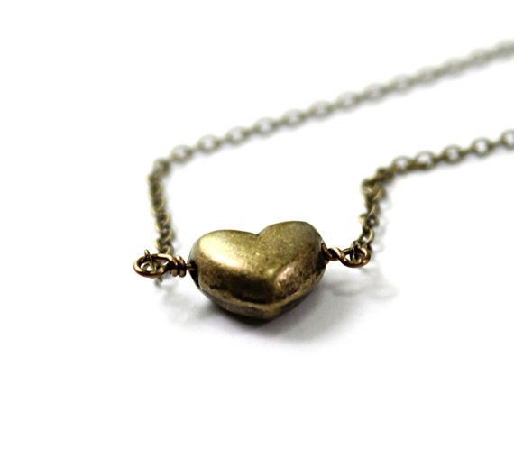 Heart necklace: Valentines Day necklace, vintage brass heart, pendant love jewelry for girlfriend wife lover minimalist small