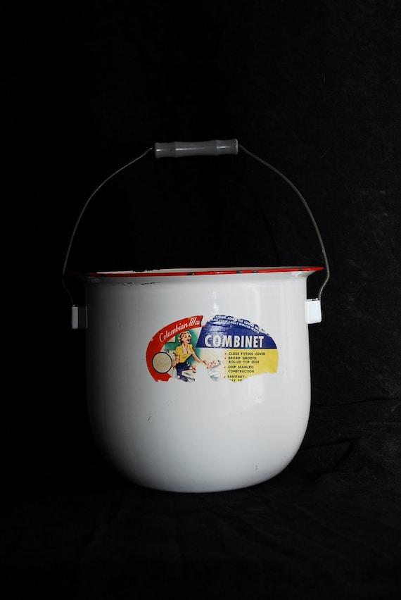 Vintage Enamel Pot diaper pail 1950's with original label  Antique enamel Combinete by Columbian Ware
