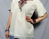 Mexican blouse hand embroidered tunic top Oaxacan Huipil Hippie  Vintage 70s style One of a Kind - ON SALE