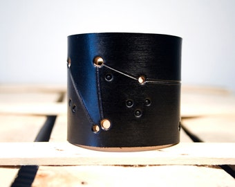 Mens leather cuff Capricorn