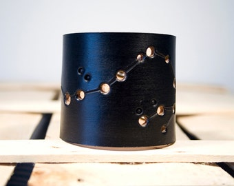 Unisex leather cuff Scorpio constellation black