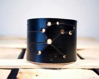 Mens Ladies leather cuff Leo constellation black wristband