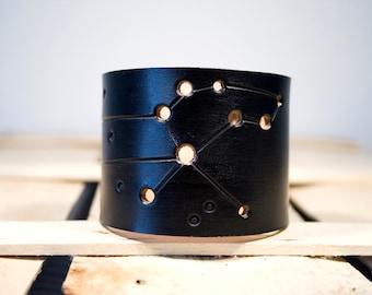 Mens leather cuff Leo constellation black wristband