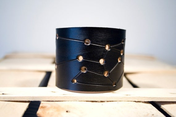 Black leather cuff Sagittarius constellation